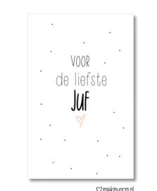 Minikaartje: voor de liefste Juf