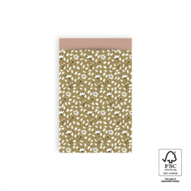 2 kadozakjes (A6),  olijfgroen bloemen, inclusief sticker