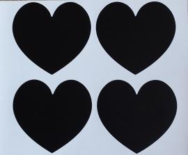 4 krijtbord stickers, hartje