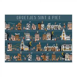 Postcard Sint en Piet, straat