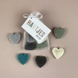5 x hartjes zeep (blauw) in een zakje incl kaartje naar keuze