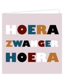 Dubbele kaart incl envelop: HOERA ZWANGER HOERA