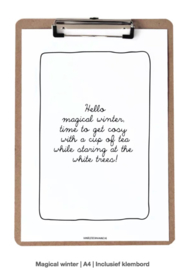 Poster A4, Hello magical winter inclusief klembord