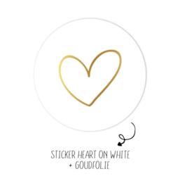 5x kado sticker rond, wit met gouden hartje