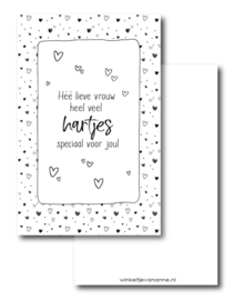 Minikaartje: Héé lieve vrouw heel veel hartjes speciaal voor jou! (W)
