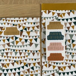 2 kadozakjes 17x25 cm (A5) slingers, inclusief stickers