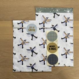 2 kadozakjes 17x25 cm (A5) inclusief stickers, Kerst