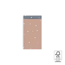 2 kadozakjes, zacht roze met witte stipjes, 12x19 cm (A6), inclusief sticker