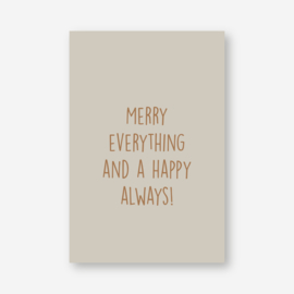 Mini kaartje: merry everything and a happy always! (K)