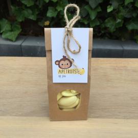 Zakje banaan schuimpjes met kaartje: apetrots op jou