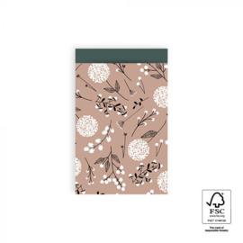 2 kadozakjes roze, bloemen  (A6), inclusief sticker