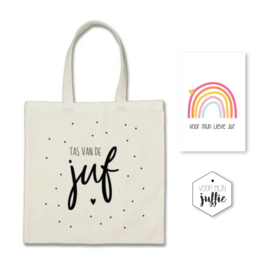 Shopper 'Tas van de Juf ' + minikaartje (dankjewel lieve Juf) + sticker.