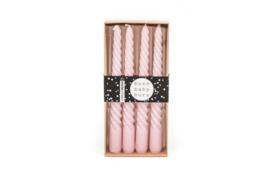 4 swirl kaarsen, roze