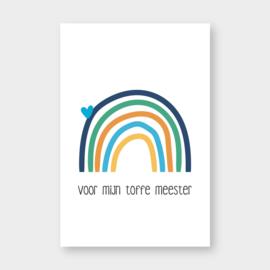 Mini kaartje: voor mijn toffe meester (regenboog)