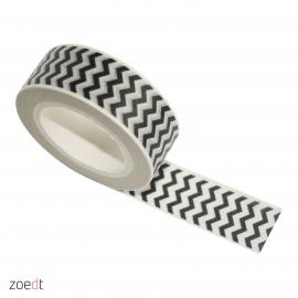 Masking tape, wit met zwart zigzag