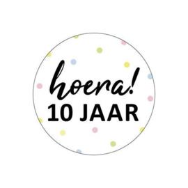 5 x kado sticker: Hoera! 10 jaar