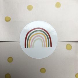 6 x regenboog sticker (wit)