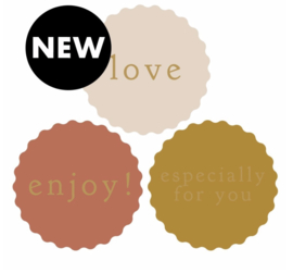 2 x 3 kado stickers Ø 55 mm :love, enjoy & especially for you