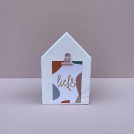 Houten huisje wit, inclusief clip naar keuze