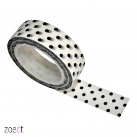 Masking tape, wit met zwarte stippen