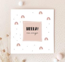 Dubbele postcard: HOERA! een meisje