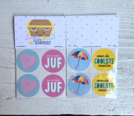 stickerset Juf/meester, 4 x 2 stickers