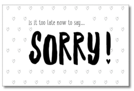 Mini kaartje is it too late to say sorry!