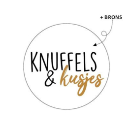 5 x kadosticker: knuffels & kusjes (brons folie)