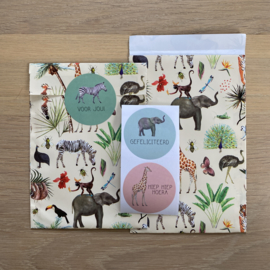 2 kadozakjes, 12 x 19 cm: jungle, incl stickers