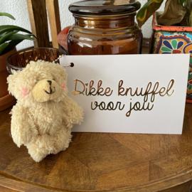 Postcard met knuffel: dikke knuffel voor jou