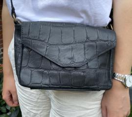 WAUW tas zwart: croco mat leer