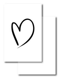 Mini kaartje, hart (wit)