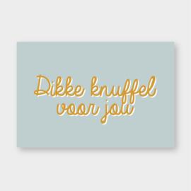 Mini kaartje: Dikke knuffel voor jou (licht blauw/oker)