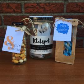 Zakje met babbelaars snoepjes en kaartje: lekker babbelen