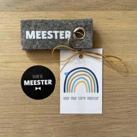 Sleutelhanger: meester, mini kaartje en sticker