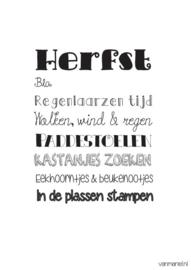Woonkaart/poster A5, Herfst
