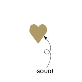 5 x kado stickertje: mat gouden hartje