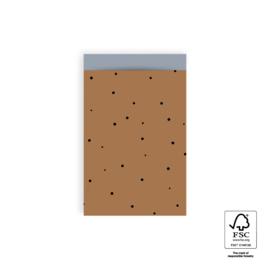 2 kadozakjes cognac, 12x19 cm (A6), inclusief sticker