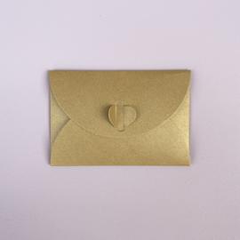 Enveloppe voor minikaartje met 'hartje', goud