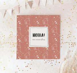 Dubbele postcard incl envelop: HOERA! een nieuw huis