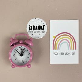 Mini wekkertje zacht roze, bedankt voor de fijne TIJD, incl minikaartje