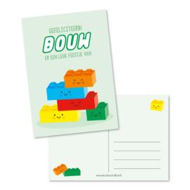 Kado label: laten we een feestje BOUWEN (groen)