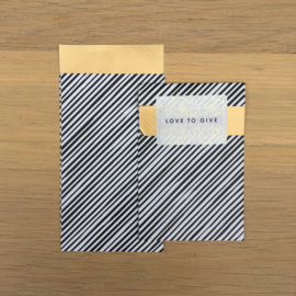 2 kadozakjes 7 x 13 cm (A7) voor minikaartjes: zwart wit/goud streep