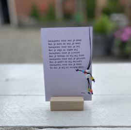 Geluksplezier: dankjewel.... (gelukspoppetje, kaart en houder)