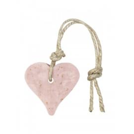 Zeephanger hartje oud roze, inclusief houten labeltje