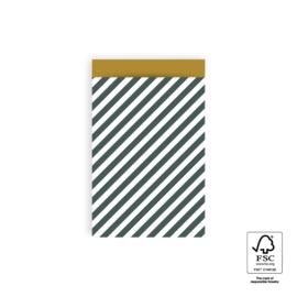 2 kadozakjes petrol streep, 12x19 cm (A6), inclusief sticker