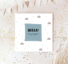 Dubbele postcard: HOERA! een jongen