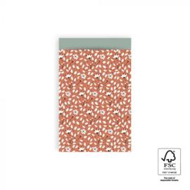 2 kadozakjes warm rood bloemen (A6), inclusief sticker