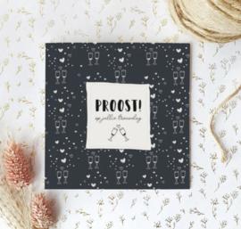 Dubbele postcard incl envelop: PROOST! op jullie trouwdag