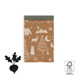 2 kadozakjes kerst vintage cognac, 12x19 cm (A6), inclusief sticker